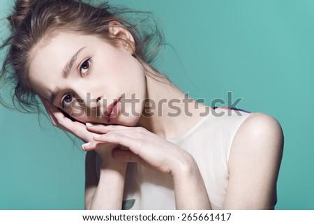 Fashion model girl beauty portrait in studio - stock photo