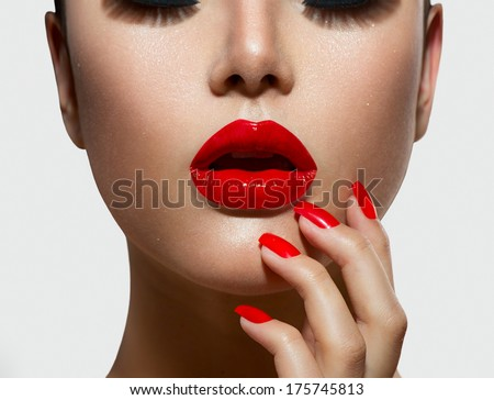 Fashion Model Girl portrait. Red Sexy Lips and Nails closeup. Open Mouth. Manicure and Makeup. Make up concept.  Beauty woman face  - stock photo