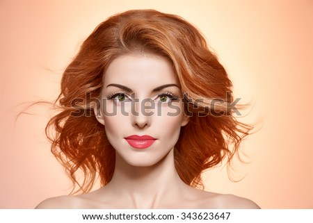 Fashion model head. Beauty model portrait nude fashion woman,long eyelashes, perfect skin, fashion makeup.Sensual attractive redhead fashion sexy model girl on pink, shiny hair.People face closeup,spa - stock photo