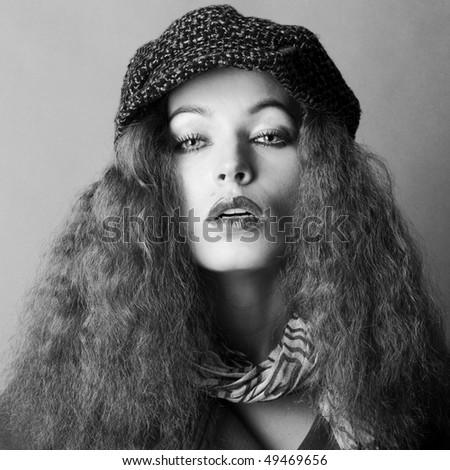 fashion model in autumn/winter clothes - stock photo