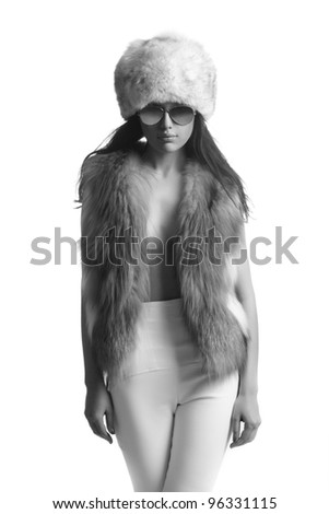 fashion model, isolated in white, monochrome - stock photo