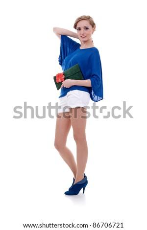fashion model model holding little purse on white background - stock photo