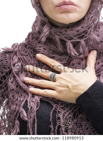 fashion model  pledging with her hand on chest - stock photo