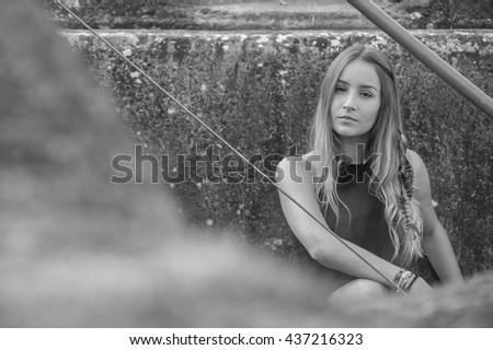 Fashion model portrait, black and white - stock photo