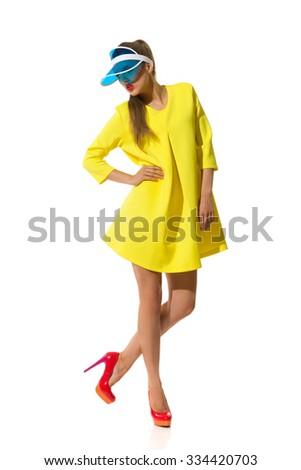 Fashion Model Posing In Plastic Sun Visor Cap - stock photo