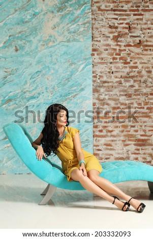 Fashion model posing, luxury portrait - stock photo