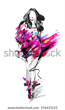 Fashion model. Sketch - stock photo