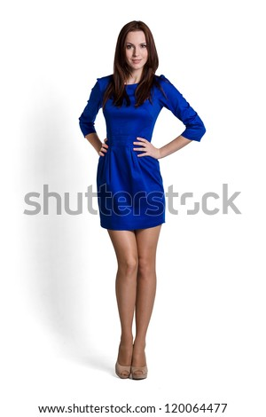 Fashion model wearing blue dress with emotions - stock photo