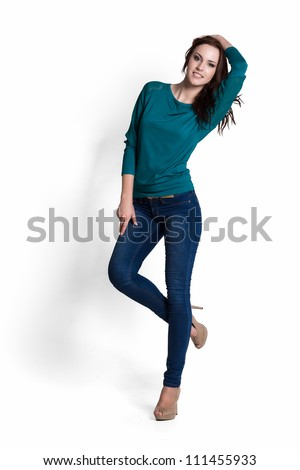 Fashion model wearing green sweater with emotions - stock photo