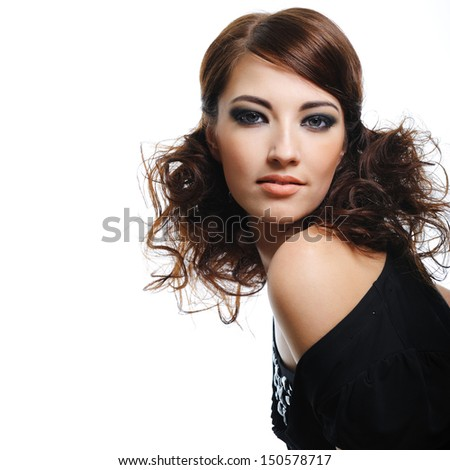Fashion model with brown curly hairs posing  - isolated on white - stock photo