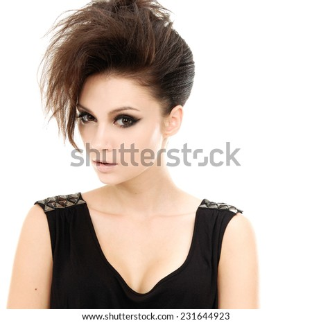 Fashion model with straight short hair - stock photo