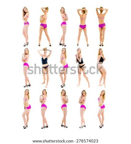 Fashion Models Over White  - stock photo