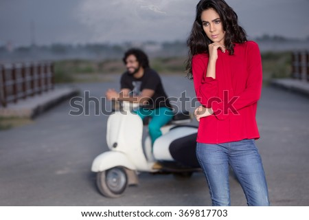 fashion models posing for a shoot - stock photo