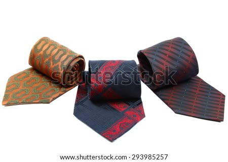 Fashion neckties isolated on white background. - stock photo