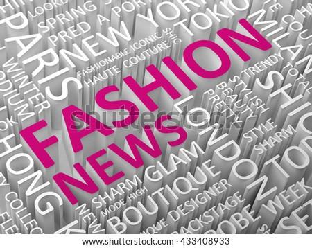 Fashion news word cloud 3d illustration. - stock photo