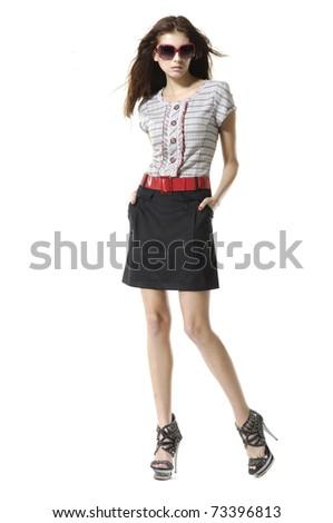 fashion or casual girl in sunglasses - stock photo
