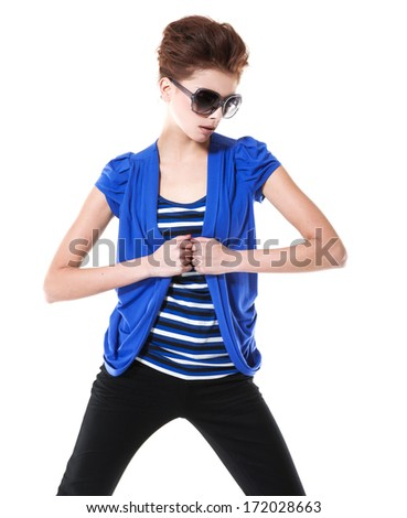 fashion or casual woman portrait wearing sunglasses posing - stock photo