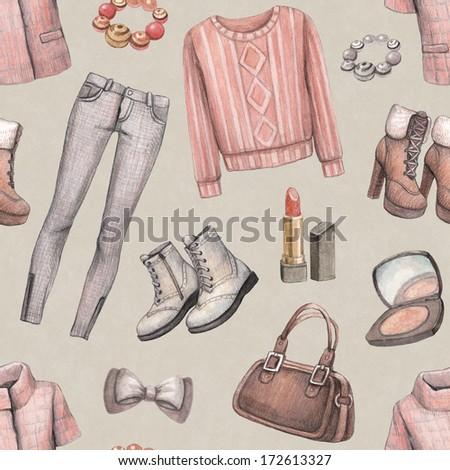 Fashion pattern. Watercolor illustration - stock photo