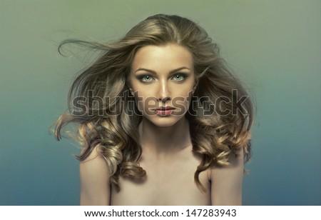 Fashion photo of young beautiful girl - stock photo