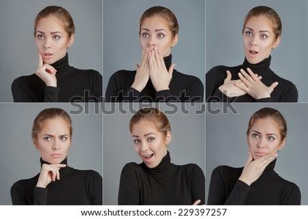 Fashion photo of young emotional woman. Girl posing. Studio photo - stock photo