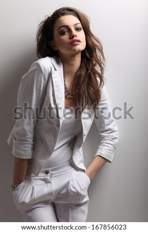 Fashion photo of young magnificent woman. Girl posing. Studio photo  - stock photo