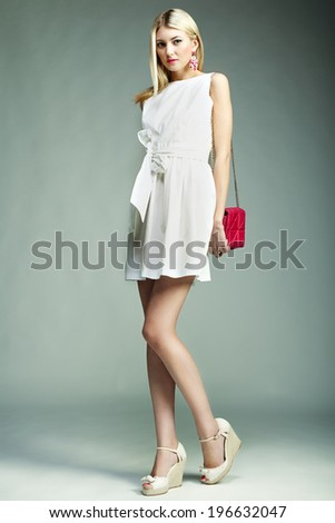 Fashion photo of young magnificent woman. Girl with handbag. Girl posing - stock photo