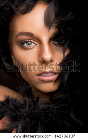 Fashion portrait of a beautiful blonde woman with blue eyes - stock photo