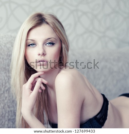 fashion portrait of a sexy young woman in underwear closeup - stock photo
