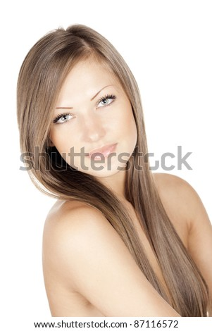 fashion portrait of a woman with beautiful long natural hair - stock photo