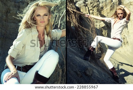 Fashion portrait of beautiful blond girl in casual clothing. Outside. Hipster lifestyle. - stock photo