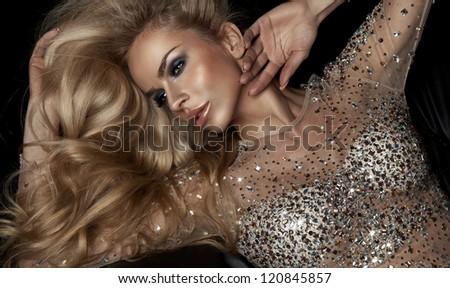 Fashion portrait of beautiful blonde woman - stock photo