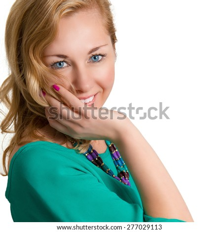 Fashion portrait of beautiful cheerful blonde woman on a white background. - stock photo