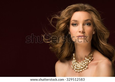 Fashion Portrait Of Beautiful Luxury Woman With Jewelry - stock photo