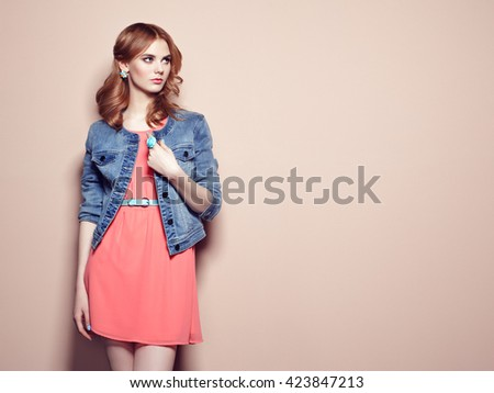 Fashion portrait of beautiful young woman in a summer dress. Beauty spring photo - stock photo