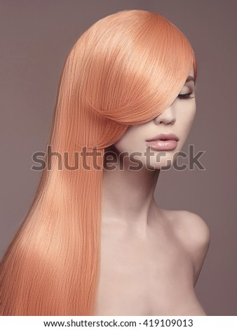 fashion portrait of beautiful young woman with long healthy colored hair.beauty girls haircare concept - stock photo
