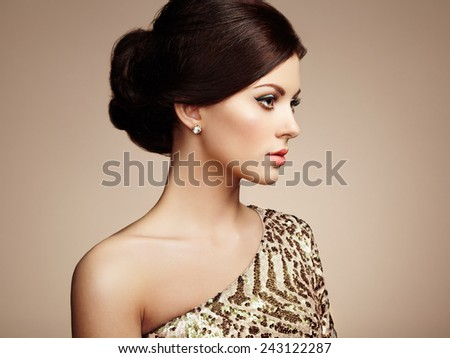 Fashion portrait of elegant woman with magnificent hair. Blonde girl. Perfect make-up - stock photo