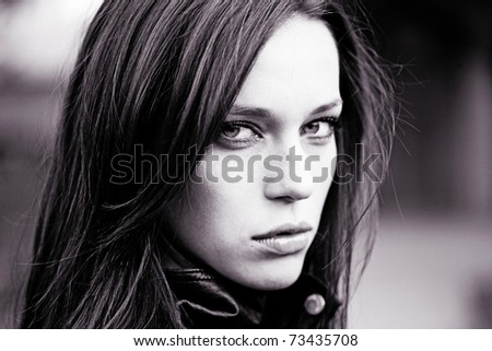 fashion portrait of extremly beautiful young woman - stock photo