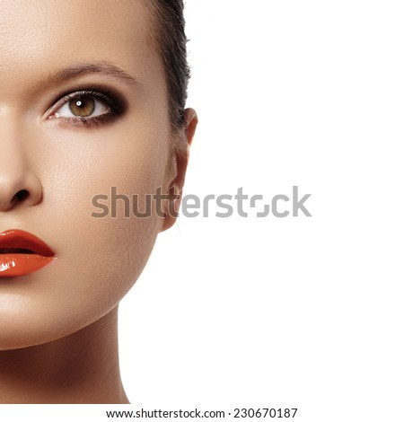 Fashion portrait of glamour woman model with bright evening make-up, purity complexion. Sensual night style  - stock photo