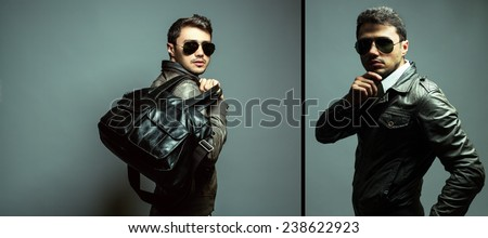 Fashion portrait of handsome man in leather trendy jacket, sunglasses and black modern bag with stylish haircut. Studio shot. Close up. Collage.  - stock photo