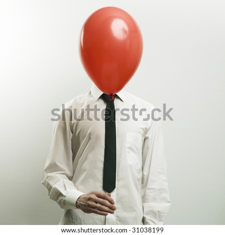 Fashion portrait of office manager with head - balloon - stock photo