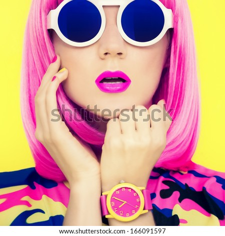 Fashion portrait of stylish bright girl - stock photo