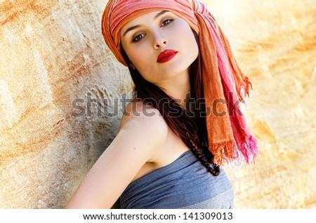 Fashion portrait of sultana - stock photo
