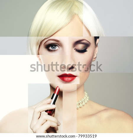 Fashion portrait of the young blonde woman with red lipstick. Conceptual collage - stock photo