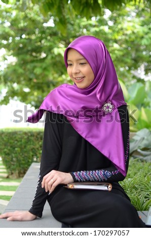 Fashion portrait of young beautiful muslim woman  - stock photo