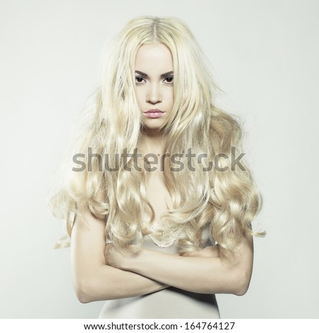 Fashion portrait of young beautiful woman. Sexy blonde - stock photo