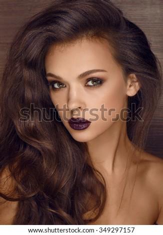 Fashion portrait with dark lips - stock photo