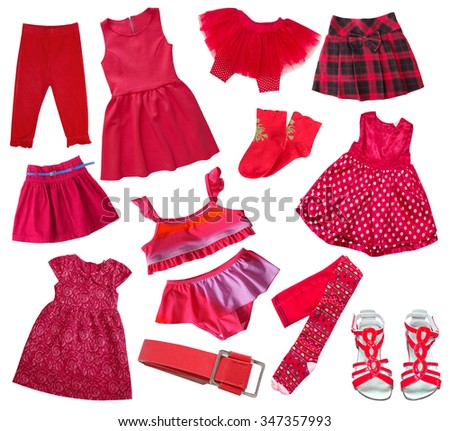 Fashion red collection of child girl's clothes isolated on white.Collage of female kid wear. - stock photo