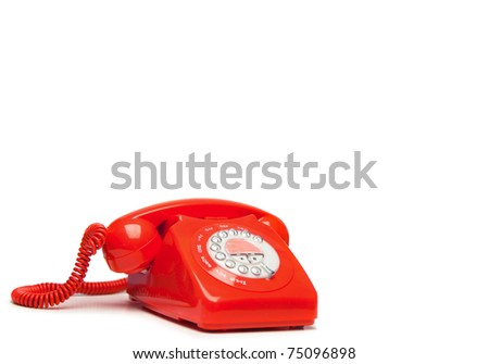 Fashion red phone on a white background - stock photo