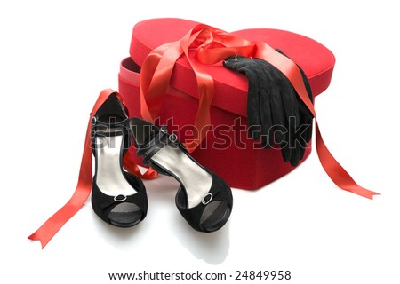 Fashion series: woman's black shoes and black glove over white - stock photo