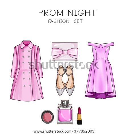 Fashion set of woman's clothes and accessories - Prom dress, Double Breasted coat, make up, shoes, purse - stock photo